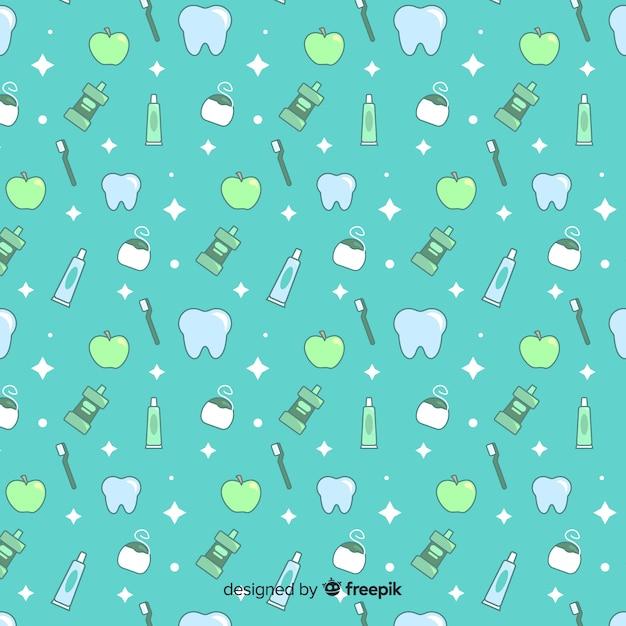 Diseño de patrón infinito para dentistas vector gratuito