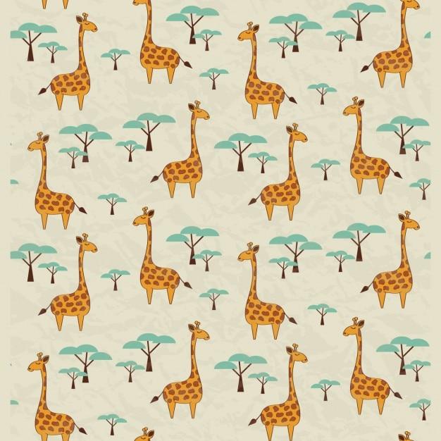Diseño de patrón de jirafas vector gratuito