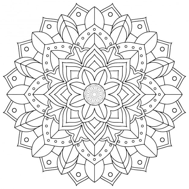 Diseño de patrón de mandala sobre fondo blanco. Vector Premium