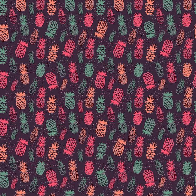Diseño de patrón de piñas vector gratuito