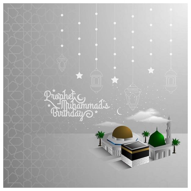 Diseño del patrón de saludo mawlid al nabi con hermosas mezquitas y media luna Vector Premium