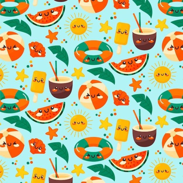 Diseño de patrón de verano vector gratuito