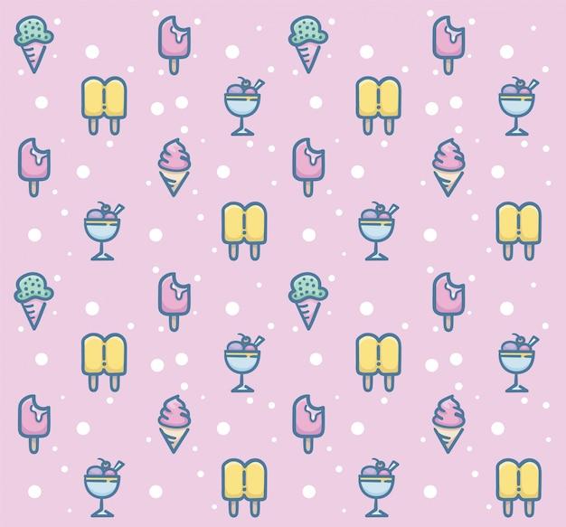 Diseño de patrones sin fisuras de postre dulce Vector Premium