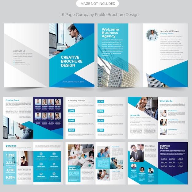 Diseño de perfil de empresa de 16 páginas Vector Premium