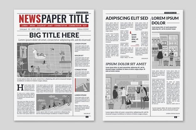 Diseño de periódico. artículos de columna de noticias diseño de revista de periódico. folleto de hojas de periódico. plantilla de vector de revista editorial Vector Premium