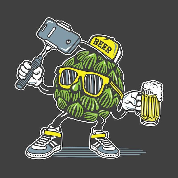 Diseño de personajes de cerveza selfie Vector Premium
