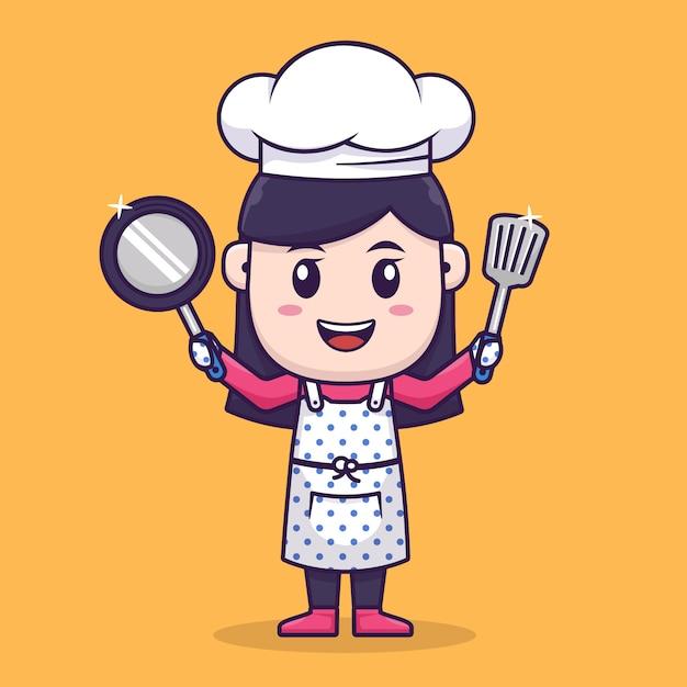Diseño de personajes de chef girl Vector Premium