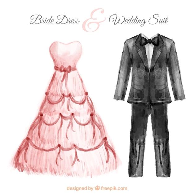 Diseño Pintado A Mano De Acuarela De Vestido De Novia Y