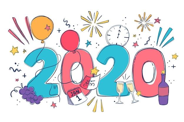 Diseño plano año nuevo 2020 fondo de pantalla vector gratuito