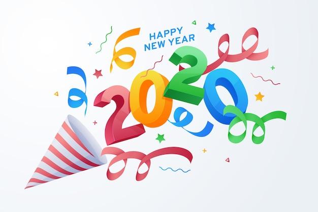 Diseño plano año nuevo 2020 fondo vector gratuito