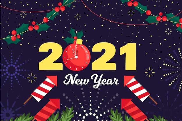 Diseño plano año nuevo 2021 fondo vector gratuito