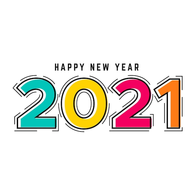 Diseño plano año nuevo 2021 Vector Premium