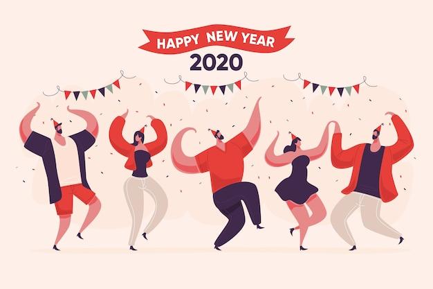 Diseño plano año nuevo fondo vector gratuito
