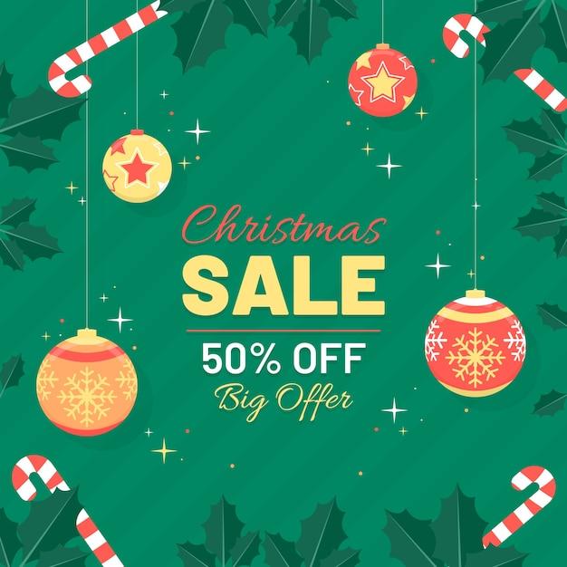 Diseño plano de banner de venta de cristmas vector gratuito