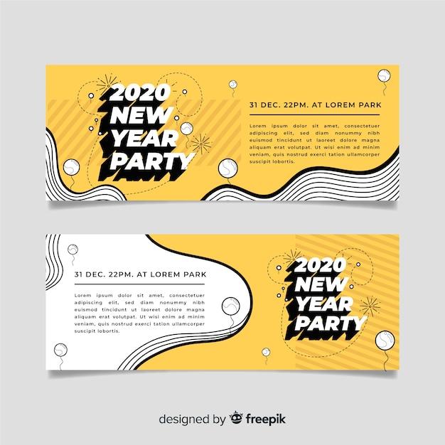 Diseño plano de banners de fiesta de año nuevo 2020 vector gratuito
