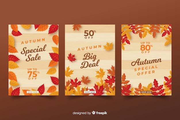 Diseño plano de banners de venta otoño vector gratuito