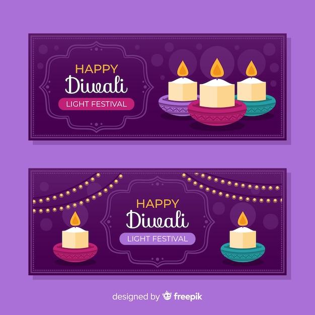 Diseño plano de banners web diwali vector gratuito