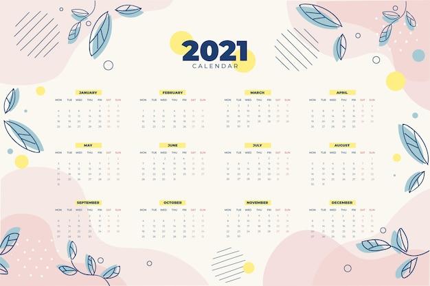 Diseño plano calendario año nuevo 2021 Vector Premium