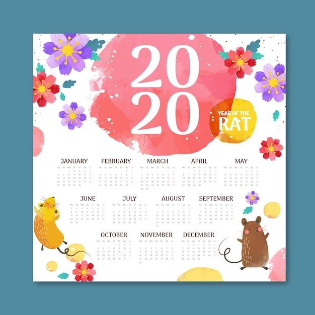 Diseño plano del calendario del año nuevo chino vector gratuito