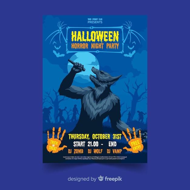 Diseño plano con cartel de fiesta de halloween hombre lobo vector gratuito