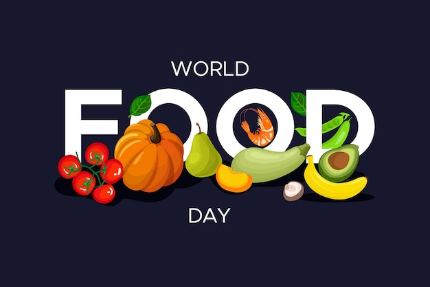 Diseño plano de celebración del día mundial de la alimentación Vector Premium
