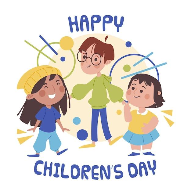Diseño plano de celebración del día mundial del niño. vector gratuito