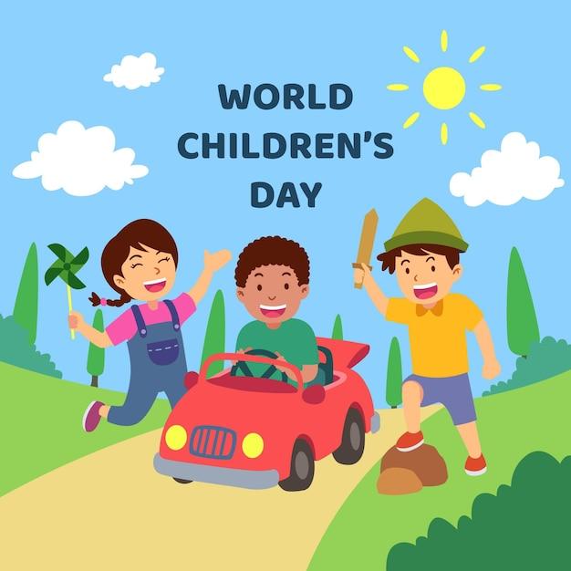Diseño plano de celebración del día del niño. vector gratuito
