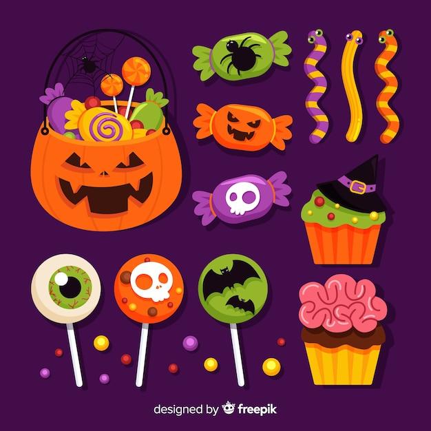 Diseño plano de la colección de dulces de halloween vector gratuito