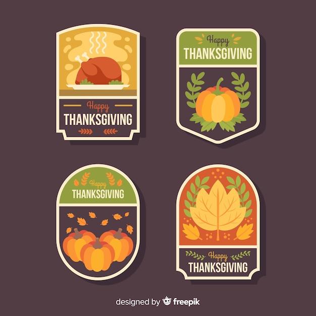 Diseño plano para la colección de etiquetas de acción de gracias. vector gratuito