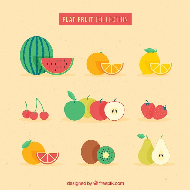 Diseño plano de colección de fruta vector gratuito
