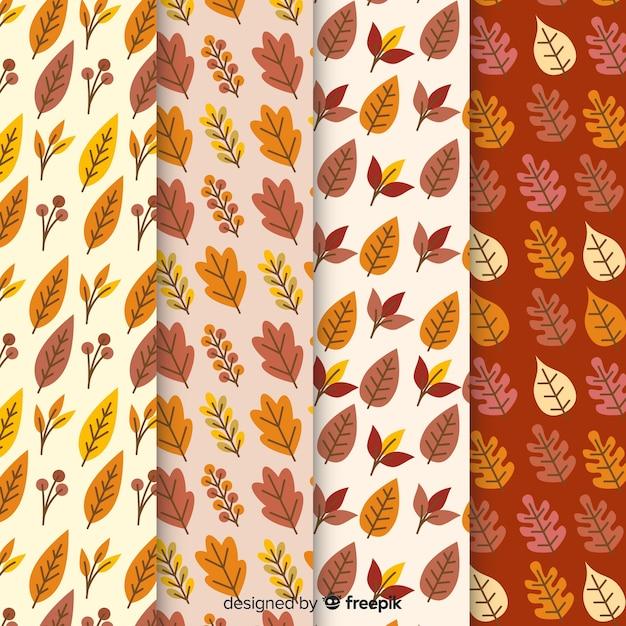 Diseño plano colección otoño patrón vector gratuito