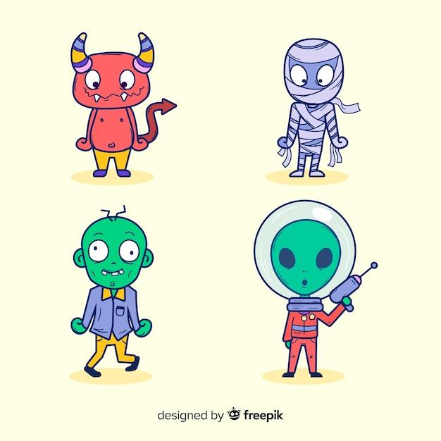 Diseño plano de la colección de personajes de halloween vector gratuito