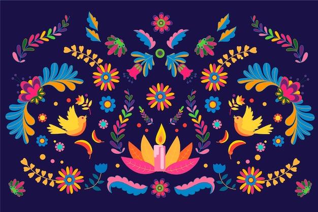 Diseño plano de colores de fondo mexicano vector gratuito