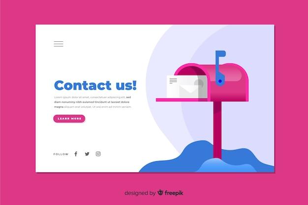 Diseño plano colorido contáctenos página de inicio con buzón vector gratuito