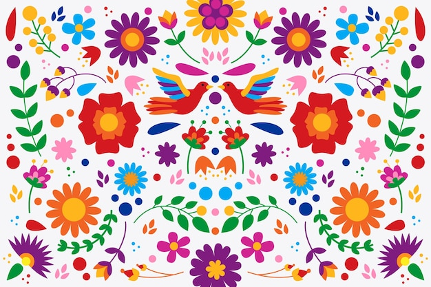 Diseño plano colorido papel tapiz mexicano vector gratuito
