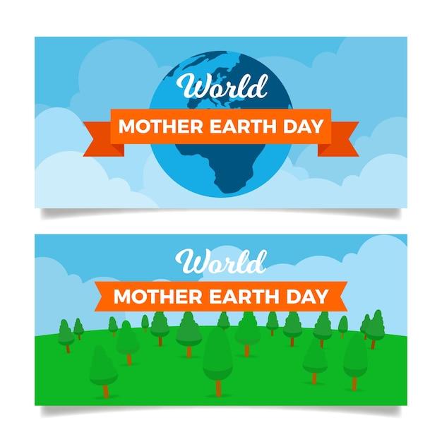 Diseño plano conjunto banner del día de la madre tierra vector gratuito