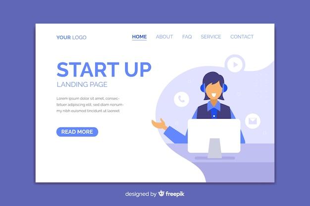 Diseño plano contáctenos página de inicio con persona sonriente vector gratuito