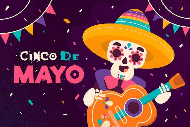 Diseño plano día de evento cinco de mayo vector gratuito