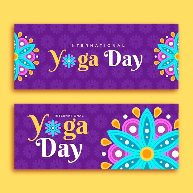 Diseño plano día internacional del banner de yoga vector gratuito