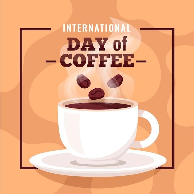 Diseño plano día internacional del café con taza. vector gratuito