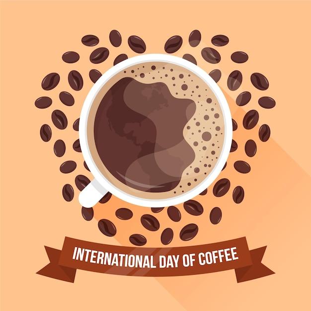 Diseño plano día internacional del café. vector gratuito