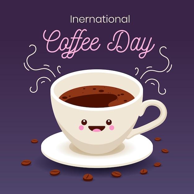 Diseño plano del día internacional del café. vector gratuito