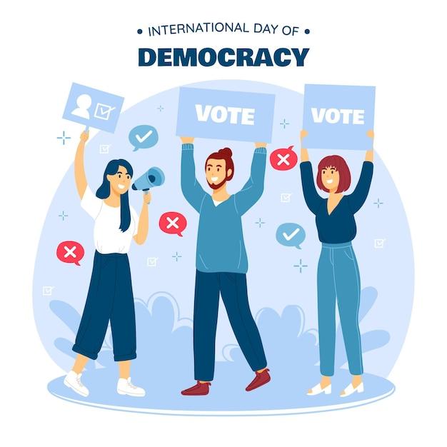 Diseño plano día internacional de la democracia con la gente vector gratuito