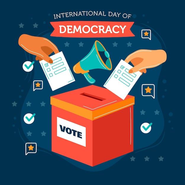 Diseño plano día internacional de la democracia con manos y urna vector gratuito