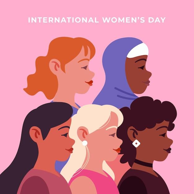Diseño plano día internacional de la mujer. vector gratuito