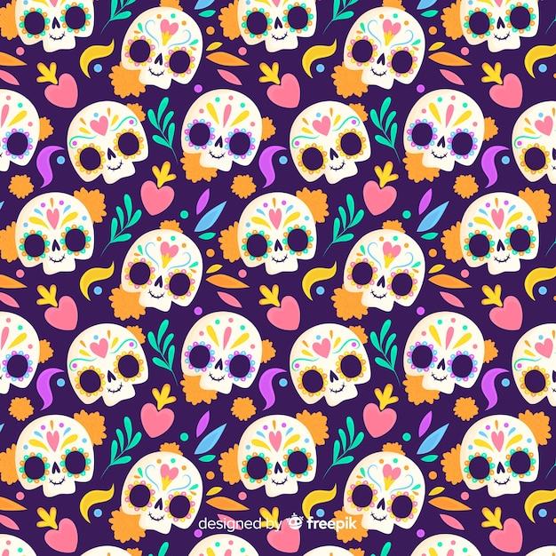 Diseño plano dia de los muertos de patrones sin fisuras vector gratuito