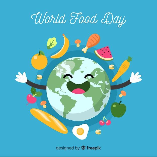 Diseño plano del día mundial de la alimentación. vector gratuito