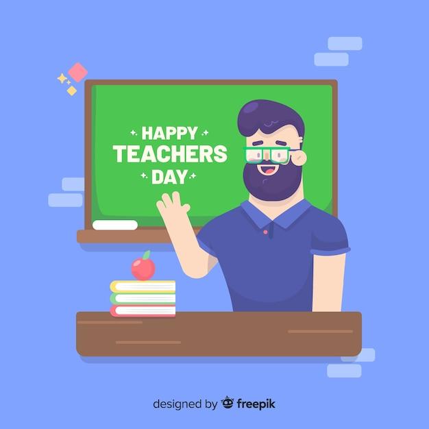 Diseño plano del día mundial de los docentes. vector gratuito
