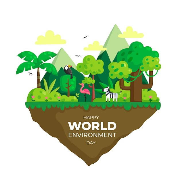 Diseño plano día mundial del medio ambiente Vector Premium