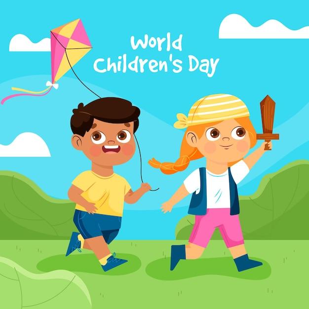 Diseño plano día mundial del niño. vector gratuito